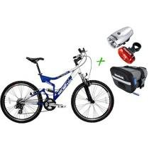 Bicicleta Houston Mercury FS Full Suspension - Aro 26 21 Marchas + Bolsa de Selim + Kit Lanterna