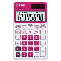 Calculadora de Bolso Casio 8 Dígitos - Colorful SL-300NC Branca e Pink