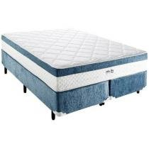 Cama Box (Box + Colchão) Queen Size Mola Pocket - 158x198cm - Inducol Stillus Blue