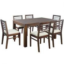 Conjunto de Mesa Canela e Veneza e 6 Cadeiras