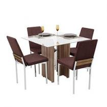 Conjunto de Mesa Flora 4 Cadeiras