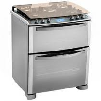 Fogão 5 Bocas Electrolux I-Kitchen 76DIX Inox - Tripla-Chama Duplo Forno Grill Painel Touch Screen