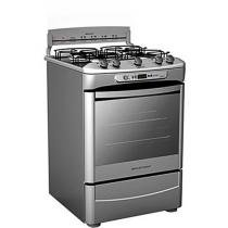 Fogo Inox 4 Bocas Quadri Chama c/ Timer Sonoro