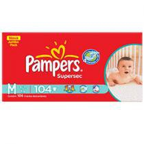 Fraldas Supersec Jumbo 104 Unidades - Pampers M