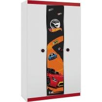 Guarda-Roupa Infantil 3 Portas 1 Gaveta - Pura Magia Hot Wheels Happy