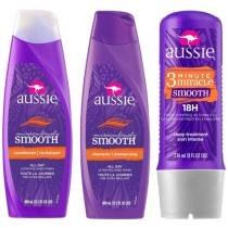 Kit Aussie Tratamento Smooth 3 Minute Mirac 236ml - com Shampoo Miraculously Smooth + Condicionador
