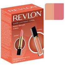 Kit com Batom e Gloss Coral Super Lustrous