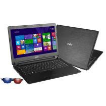 "Notebook CCE com Intel Dual Core - 2GB 500GB Windows 8 LED 14"" 1 Óculos 3D"