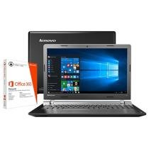 "Notebook Lenovo Ideapad 100 Intel Dual Core 4GB - 500GB LED 15,6"" Windows 10 + Pacote Office 365"