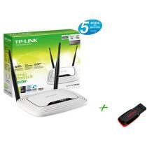 Roteador Wireless 300 Mbps 2 Antenas de 5dBi Fixa - + Pen Drive 8GB + 2GB de Backup On Line