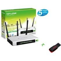 Roteador Wireless 300 Mbps 3 Antenas de 3dBi - TP-LINK + Pen Drive 4GB + 2 GB de Backup On Line