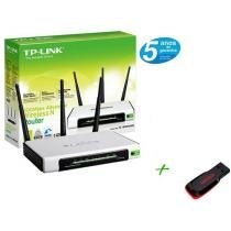Roteador Wireless 300Mbps TP-LINK - + Pen Drive 8GB + 2GB de Backup On Line