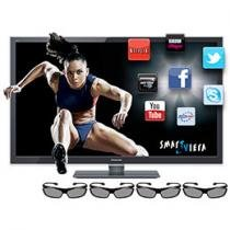 "Smart TV 3D LED 42"" Panasonic Full HD TC-L42ET5B - DTV Conversor 2D/3D 4 HDMI 3 USB Wi-fi 4 Óculos"