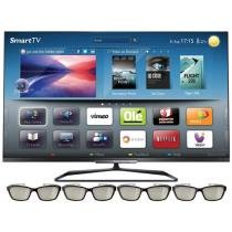 "Smart TV 3D LED 55"" Philips 55PFL7008G Full HD - Conversor Integrado 4 HDMI 3 USB 4 Óculos"