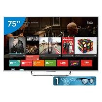 Smart TV LED 3D 75 Sony Full HD 3D KDL-75W855C - Conversor Digital Óculos Wi-Fi 4 HDMI 2 USB