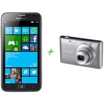 "Smartphone 3G Samsung Ativ S I8750 Windows Phone 8 - Câm. 8MP Tela 4.8"" Wi-Fi + Câmera Digital Samsung"