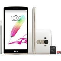 "Smartphone LG G4 Stylus HDTV 16GB Dual Chip 3G - Câm. 13MP + Selfie 5MP Tela 5.7"" + Cartão 8GB"