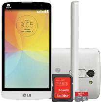 "Smartphone LG L Prime 8GB Dual Chip 3G - C��m. 8MP Tela 5"" Proc. Quad Core + Cart��o 8GB"