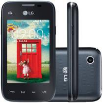 "Smartphone LG L35 Dual Chip 3G Câm. 3MP - Tela 3.2"" Proc. Dual Core TV Digital Android 4.4"