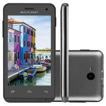 "Smartphone Multilaser MS40 4GB Preto Dual Chip - 3G Câm. 5MP Tela 4"" Proc. Quad Core"