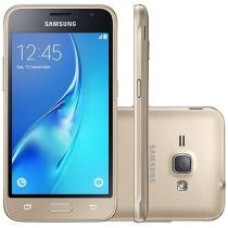 "Smartphone Samsung Galaxy J1 2016 8GB Dourado - Dual Chip 3G Câm. 5MP Tela 4,5"" Proc. Quad Core"