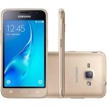 "Smartphone Samsung Galaxy J1 8GB Dourado Dual Chip - 4G Câm. 5MP Tela 4.5"" Proc. Quad Core Desbl. Vivo"