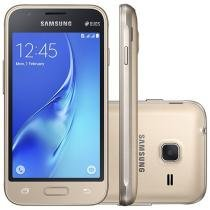 "Smartphone Samsung Galaxy J1 Mini 8GB Dourado - 3G Dual Chip Câm. 5MP Tela 4"" Proc. Quad Core"