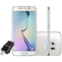 "Smartphone Samsung Galaxy S6 Edge 32GB 4G - Câm. 16MP + Selfie 5MP Tela 5.1"" + Pen Drive 64GB"