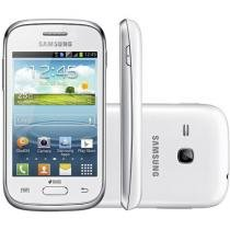 "Smartphone Samsung Galaxy Young Plus TV Dual Chip - 3G Cam. 3MP Tela 3.27"" Proc. Dual Core Android 4.1"