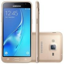 "Smartphone Samsung J3 2016 8GB Dourado Dual Chip - 4G Câm. 8MP + Selfie 5MP Tela 5"" HD Proc Quad Core"