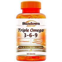 Triple Ômega 3,6,9 com Vitamina E 60 Cápsulas - Sundown Naturals