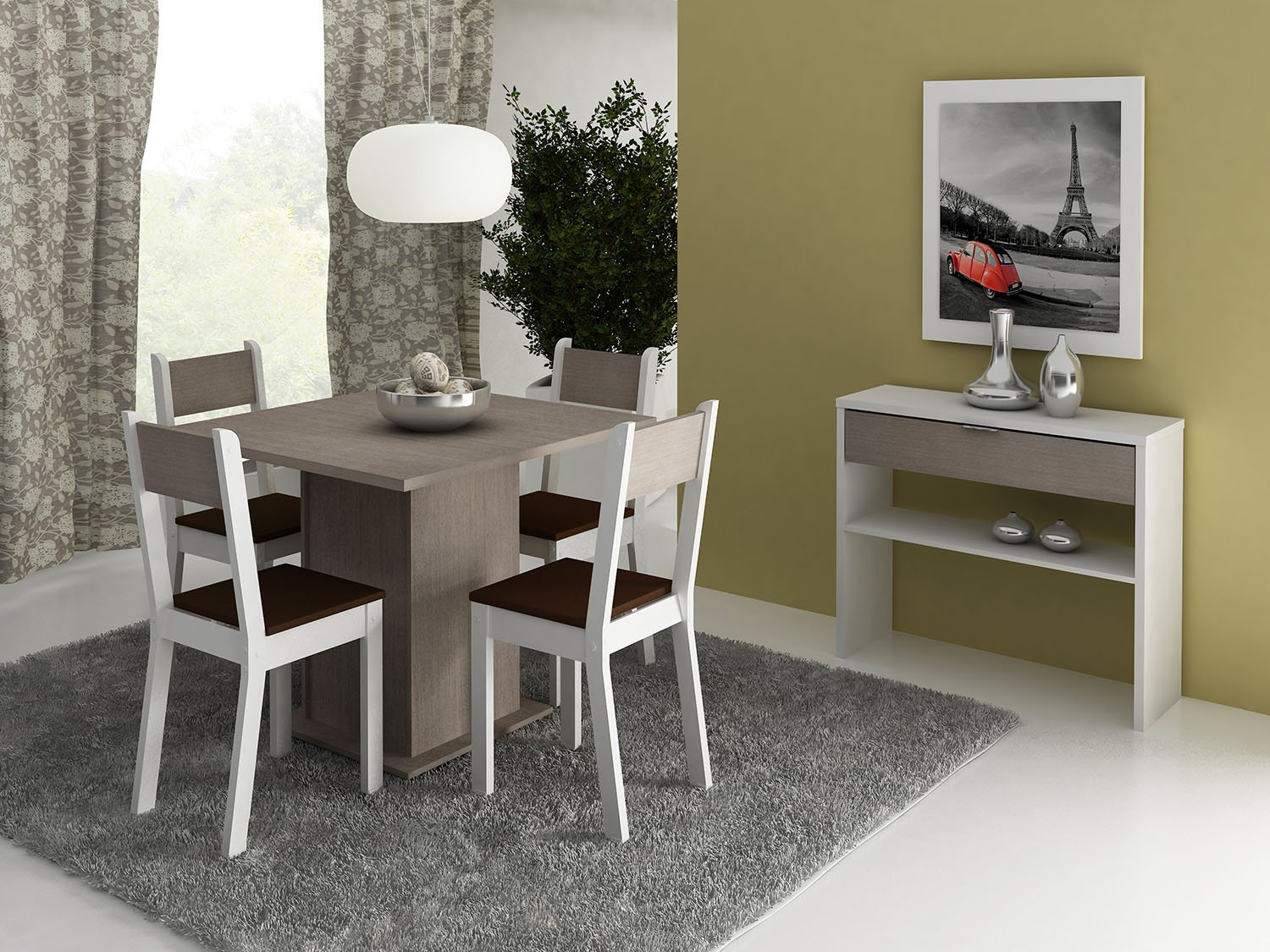 Conjunto De Mesa Com 4 Cadeiras Tuane Somopar Pictures to pin on  #A33428 1500x1125