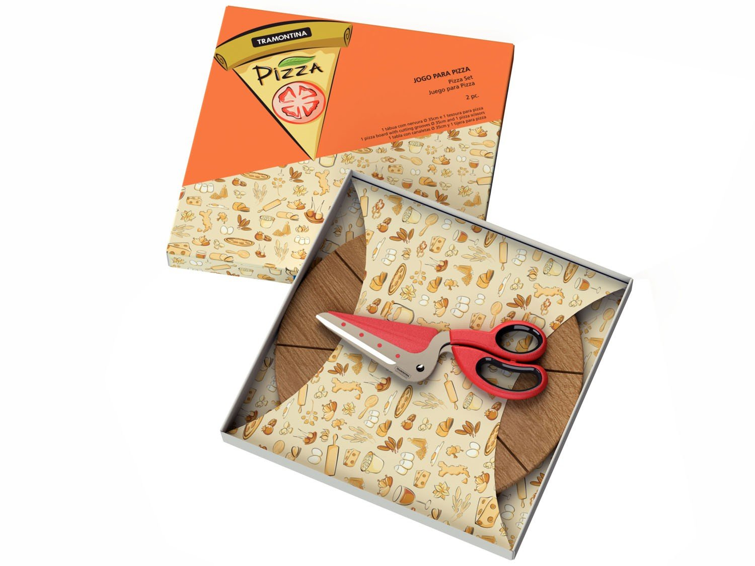 Conjunto para pizza 2 pe as tramontina 25099 717 for Utensilios pizza