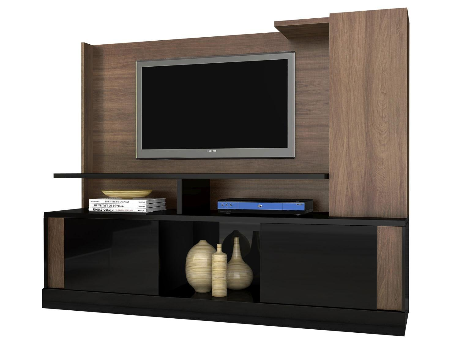 Estante para home theater em laca branca e wengue - Estantes para pared ...