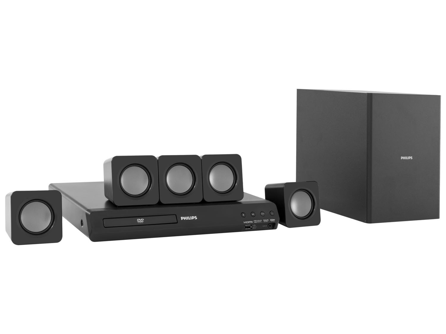 home theater philips htd3509x 78 c dvd 300w rms 5 1. Black Bedroom Furniture Sets. Home Design Ideas
