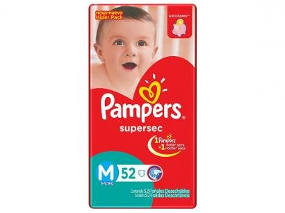 Fraldas Pampers Supersec Hiper M - 52 Unidades