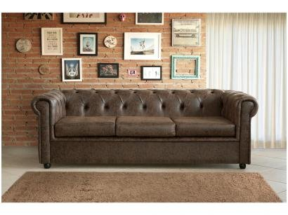 Sofá 3 Lugares Suede Chesterfield Oxford - American Comfort