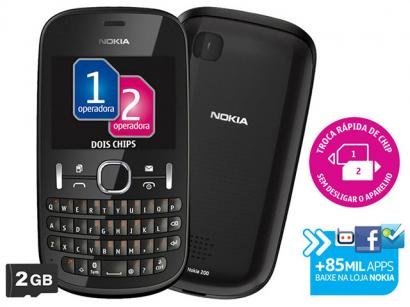 Celular Dual Chip Nokia ASHA 200 Cmera 2MP - Carto MP3 Troca Rpida de Chip Desbloqueado TIM