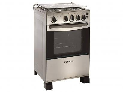 Fogo 4 Bocas Esmaltec Samoa Inox - Acendimento Automtico Queimador Famlia