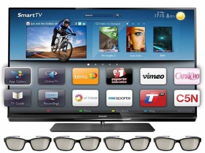 Smart TV 3D LED 42&#34; Philips Full HD 42PFL7007G/78 - DTVi Ambilight 480Hz 4 HDMI 3 USB Wi-Fi 4 culos