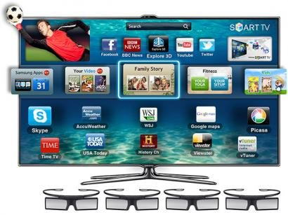 Smart TV 3D Slim LED 55 Samsung Full HD UN55ES7000 - DTV Smart Interaction 3USB Dual Core DLNA 4 culos