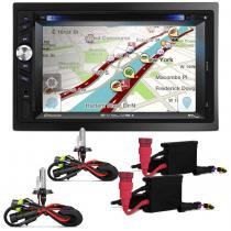 DVD Player 2 Dim Multilaser Evolve+ MP3 USB SD TV Bluetooth Touch GPS + KIT Xenon H4 - 2 8000K Linha Prime 8253460