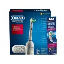 Kit Escova Digital Oral B 5000 com Refil Flossaction Oral B 8269171