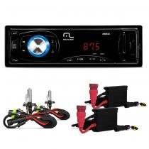 MP3 Player Automotivo Multilaser Max P3208 1 Din SD USB AUX Radio + Kit Xenon HB4 6000k 8372093