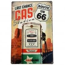 Placa de Metal Decorativa Last Chance Gas Station - 30 x 20 cm YAAY 8261854