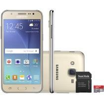 Smartphone Samsung Galaxy J5 Duos 16GB Dourado Dual Chip 4G Câm 13MP + Selfie 5MP + Cartão 16GB