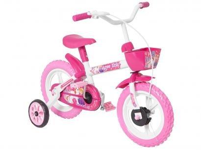 Bicicleta Infantil Aro 12 Track  Bikes - Arco Iris W Branco e Fúcsia com Rodinhas e Cesta