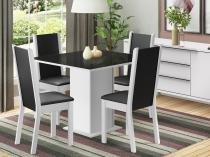 Conjunto de Mesa com 4 Cadeiras Estofadas Madesa - Moscou Plus