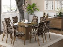 Conjunto de Mesa com 8 Cadeiras Estofadas  - Madesa Catherine