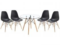 Mesa de Jantar 4 Cadeiras Redonda Tampo de Vidro - Travel Max Eames UT103045